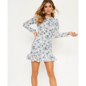 Blue Floral Lace Up Side Frill Bodycon Dress